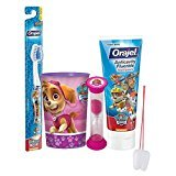 "Paw Patrol ""Skye"" Inspired Girls 4pc Bright Smile Oral Hygiene Set! Toothbrush, Toothpaste, Brushing Timer & Mouthwash Rinse Cup! Plus Bonus ""Remember To Brush"" Visual Aid"
