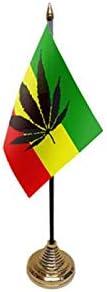 Flagmania® 12 Stück Genus Flower Reggae 15,2 x 10,2 cm Schreibtisch Tischflaggen & Gold Kunststoff Kegel Bases + 59 mm Button Badge