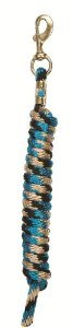 Weaver Leather 10 Foot Black & Tan & Turquoise / Blue Poly Lead Rope Brass Snap Horse Tack