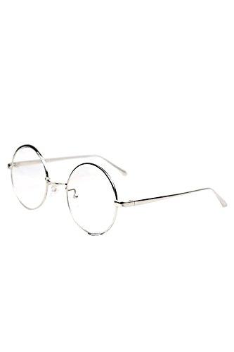 Vococal® Klassischer Runde Form Stil Brillenfassungen - Unisex Brillengestelle - Damen Auge Brillen Frame mit Gewöhnliche Brillengläser, Silber