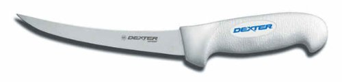 """Sofgrip SG131-6-PCP 6"""" White Narrow Curved Boning Knife with Soft Rubber Grip Handle"""
