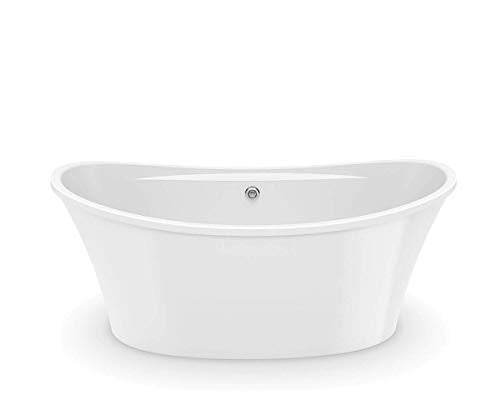 MAAX 106267-000-001 Ariosa Oval Acrylic Freestanding Soaking Bathtub with Center Drain 29.75-in L x 39.5-in W x 28-in H White