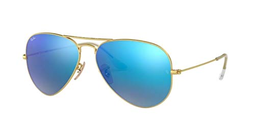 Ray-Ban RB3025 AVIATOR FLASH LENSES Sunglasses Blue Mirror 112/17, 55mm (Lenses Ray Ban)