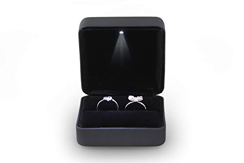 Omeet Big Size Metal Glossy LED Jewelry Gift Box Ring Jewelry Exhibition - Suitable for a Pair of Rings