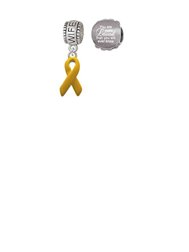 Yellow Ribbon Wife Charm Bead with You Are More Loved Bead (Set of 2)