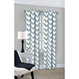 Mainstays Chevron Polyester/Cotton Curtain Panels, Set of 2 (56 Inch x 84 Inch, Spa)