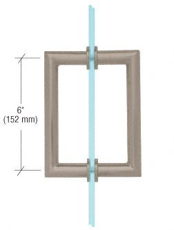 C.R. LAURENCE MT6X6BN CRL Brushed Nickel 6 MT Series Round Tubing Mitered Corner Back-to-Back Pull Handle by C.R. Laurence