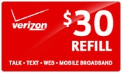 Verizon $30 Refill Card (mail delivery)