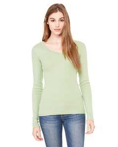 Bella + Canvas Ladies' Sheer Mini Rib Long-Sleeve V-Neck T-Shirt XL MOSS GREEN