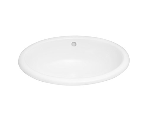 RONBOW Cirque 20 Inch Oval Self-Rimming Ceramic Vessel Bathroom Vanity Sink with Overflow in White 200392-WH (Ceramic Oval Ronbow)