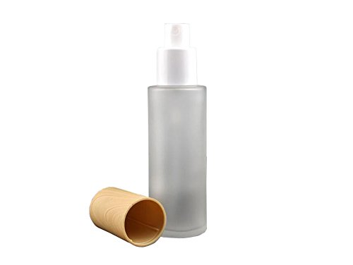 - 1PCS Clear Empty Refillable Glass Cream Vial Packing Bottles with Wood Grain Cap Cosmetic Make up Jars Lip Balm Lotion Pefume Essential Oil Storage Container Pot DIY Beauty Tool (60ml/2oz, Spray Top)