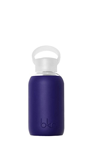 bkr - BEST Original Glass Water Bottle - Premium Quality - Soft Silicone Protective Sleeve - BPA Free - Dishwasher Safe (8oz/ 250ml)-Boss- Opaque Deep Purple Navy