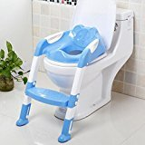 elegantstunning Collapsible Baby Toilet Ladder Toilet Pedestal Pan Blue