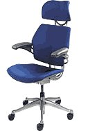 Freedom Chair by Humanscale: Headrest - Advanced Duron Arms - Gel seat - Standard Carpet Casters - Graphite Frame/Blue Wave Seat