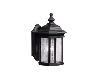 Kichler 9028BK Kirkwood Outdoor Wall 1-Light, Black - 13 in H x 6.5 in W; 3.75 lb Requires (1) A19 bulb, not included Black finish with Clear Seeded glass - patio, outdoor-lights, outdoor-decor - 21 KA4QaunL -