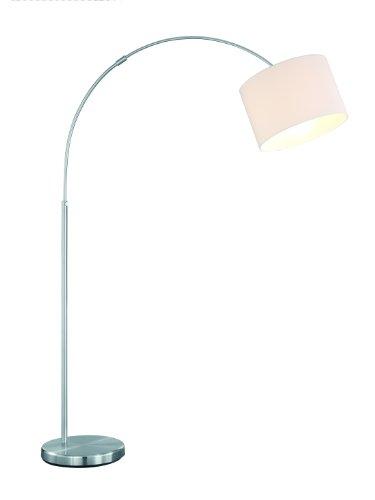 Trio Leuchten Bogenleuchte in Nickel matt, exlusiv 1x E27 maximal 60W, Höhe 150-215 cm, ø Schirm 30 cm, Stoffschirm weiß 461100101