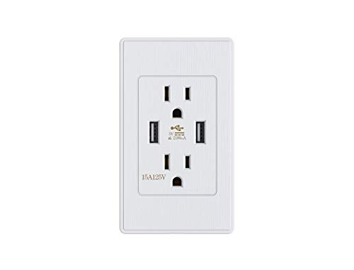Kungfuking Standard outlet 2 Socket 15 Amp Electrical Receptacle Outlet & Dual USB Ports Wall Mount with Wall Plate Power - Case Cover Faceplate Phone Metal