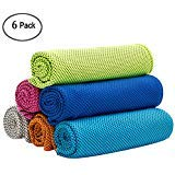 W-ShiG 6 Pack Cooling Towel, Super Absorbent Cooling Towel for Sports, Workout, Fitness, Gym, Yoga, Pilates, Travel, Camping (Travel Towel Bamboo)