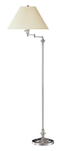 Cal Lighting BO-314-BS Transitional Swing Arm Floor Lamp, 150-watt, Brushed Steel, 21.8