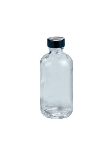 21 Boston Bottle (Kimble Type III Soda-Lime Glass Clear Narrow Mouth Boston Round Bottle with Pulp/Vinyl-lined Caps, Capacity 8oz (Case of 12))