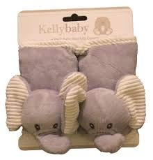 (Kelly Baby Seat Belt Covers-Soft-Plush-Elephant-Gray and Tan)
