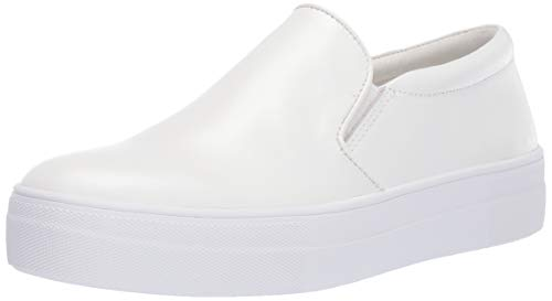Steve Madden Women's Gills Shoe, White Leather, 10 M US