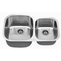 Brushed Satin Stainless Steel Undermount 60/40 Double Bowl Kitchen Sink 32' Super 18 Gauge 304 Premium Stainless Steel by C-Tech (Strainers Not Included)