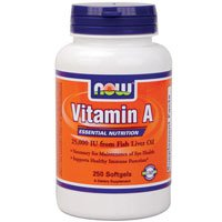 Vitamin A from Fish Liver Oil, 25000IU, 250 Sgels by Now Foods (Pack of 6) by NOW Foods