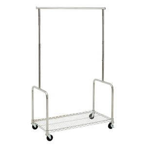 Steel Rolling Clothing Rack with Shelf by Retail Resource