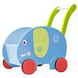 Labebe Baby Walker with Wheel, Blue Elephant Walker, 2-in-1 Wooden Activity Walker for Baby 1-3 Years, Push Toy/Baby Wagon/Infant Walker Baby/Activity Walker/Learning Walker/Toddler Walker Activity