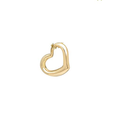 Pori Jewelers 14K Solid Yellow Gold Heart Charm Pendants- Multiple Styles Available - 14K Gold Fine Heart Charms (Slanted Heart)