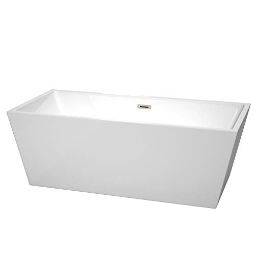 Wyndham Collection WCBTK151467BNTRIM Sara Freestanding Bathtub with Brushed Nickel Trim, 67