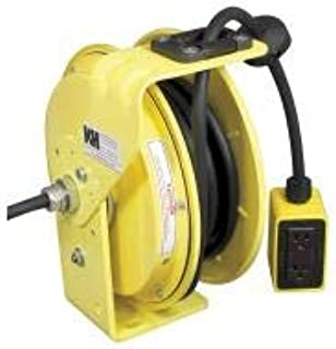 product image for Kh Industries Yellow Retractable Cord Reel, 20 Max Amps, Cord Ending: Quad Box Receptacle, 25 ft Cord Length - RTBB3L-WGB520-J12F
