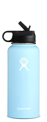 Hydro Flask 32 oz Double Wall Vacuum Insulated Stainless Steel Sports Water Bottle, Wide Mouth with BPA Free Straw Lid, Frost