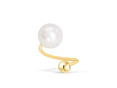 ONDAISY 14K Real Solid Yellow Gold 6.5mm Daith Cultured Fresh Water Pearl 20g Gauge Barbell Round Ball Twist Spiral Ear Stud Earring Piercing For Women Girls 14k Gold Spiral Barbell