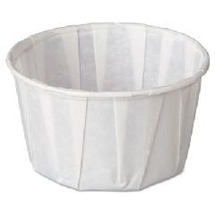 Squat Paper Portion Cup, Pleated, 3.25 oz, White