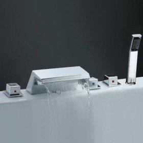 Badewanne Armaturen / Zwei Griffe / Wasserfall - PIMA: Amazon.de ... | {Badewannen armaturen wasserfall 2}