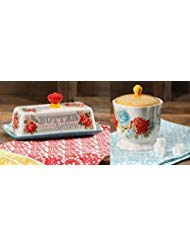 The Pioneer Woman Vintage Floral Teal Butter Dish with Blossom Jubilee Sugar Pot set by The Pioneer Woman (Image #1)