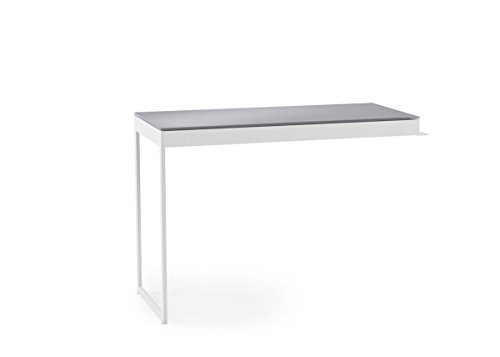 BDI Furniture 6402 SW/Gry Centro Desk Extension Table, Satin White/Grey Etched Glass