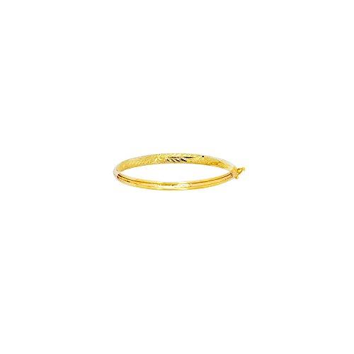 JewelStop 14k Yellow Gold 4.3mm Engraved Baby Children Kids Bangle Bracelet - 5.5'' by JewelStop
