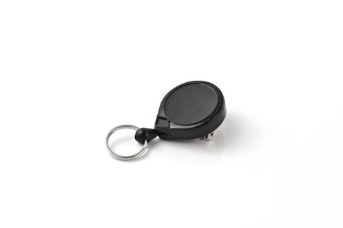 "KEY-BAK MINI-BAK Retractable Key Holder with 36"" Nylon Cord, Safety Pin Back, Split Ring, Black, USA Made"