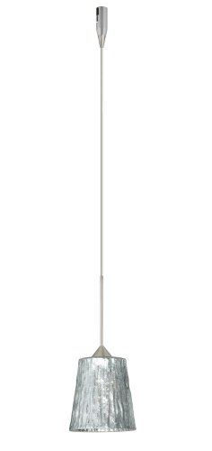Besa Lighting RXP-5125SF-SN 1X35W Gy6.35 Nico 4 Pendant with Stone Silver Foil Glass, Satin Nickel Finish