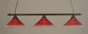 Toltec Lighting 803-BRZ-716 Billiard - Three Light Island, Bronze Finish with Raspberry Crystal Glass (Billiard Toltec Lighting)