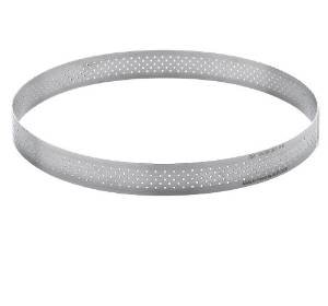 DeBuyer Valrhona Perforated Stainless Pastry Tart Ring Round 3/4''High - 10''diam.