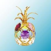 24K Gold Plated Pineapple Free Standing - Multicolored - Swarovski Crystal -  Crystal Delight by Mascot, G-848