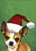 Chihuahua Tan Santa Hat Dog Breed Flag 12'' x 18