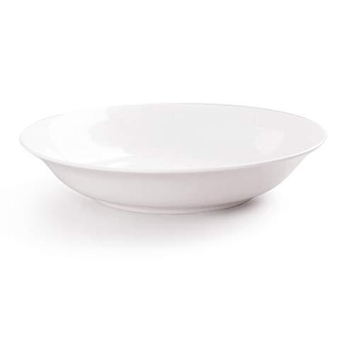 Plate, Bone China Dinner Plates Ceramic Dinnerware Creative Soup Disc Household Pure White Rice Plate (Size : 21.5x4CM)