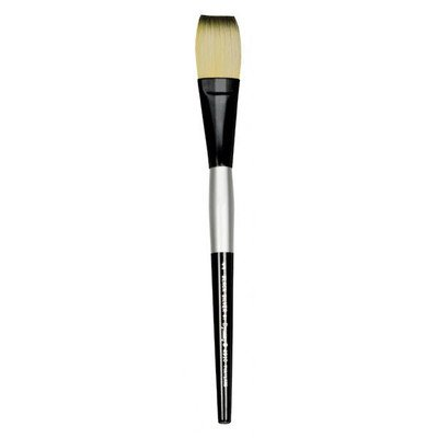Dynasty Stroke Black Silver Synthetic Hair Long Handle Paint Brush, 1 in