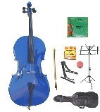 GRACE 4/4 Size Blue Cello with Bag and Bow+Rosin+Extra Set of Strings+Tuner+Cello Stand+Music Stand