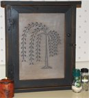 Country Punched Tin (Country Rustic Primitive Willow Tree Spice Cabinet)